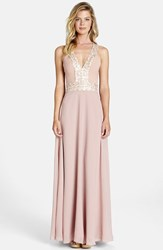 Women's Dress The Population 'Delani' Sequin Crepe Gown Rose Pink Opal