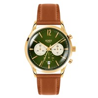 Henry London 41Mm Chiswick Chronograph Tan Leather Watch Gold Green Brown