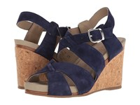 Hush Puppies Fintan Montie Royal Navy Suede Women's Wedge Shoes Blue