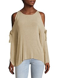 Saks Fifth Avenue Red Cold Shoulder Top Oatmeal