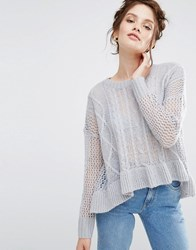 Willow And Paige Relaxed Longline Cable Knit Jumper With Ripple Hem Lilac Purple