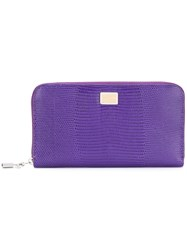 Dolce And Gabbana Zip Around Wallet Women Calf Leather One Size Pink Purple
