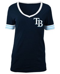 5Th And Ocean Women's Tampa Bay Rays Retro V Neck T Shirt Navy