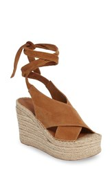 Marc Fisher Women's Ltd Andira Platform Wedge Sandal Cognac Suede