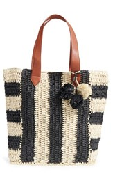 Sole Society 'Sherwood' Straw Beach Tote Black Black Natural