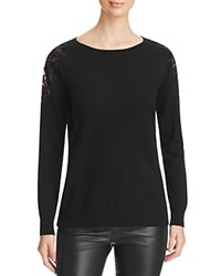 Bloomingdale's C By Floral Lace Shoulder Cashmere Sweater Black