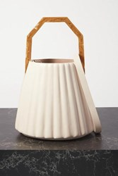 Louise Et Cie Alez Small Pleated Leather Bucket Bag White