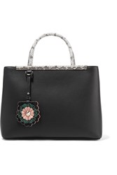 Fendi 2Jours Python Trimmed Leather Shopper Black