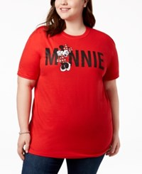 Disney Plus Size Cotton Minnie Mouse Graphic T Shirt Red