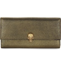 Alexander Mcqueen Skull Metallic Leather Continental Wallet Gold