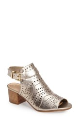 Bella Vita Women's Fonda Perforated Sandal Champagne Leather