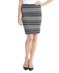 Karen Kane Knitted Jacquard Skirt Black Off White