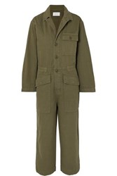 Current Elliott The Richland Cotton And Linen Blend Jumpsuit Army Green