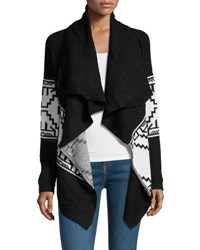 Lulumari Aztec Print Knit Open Cardigan Black White