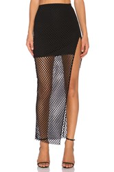 Donna Mizani Diamond Long Slit Skirt Black