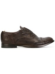 Officine Creative Woven Effect Oxfords Brown