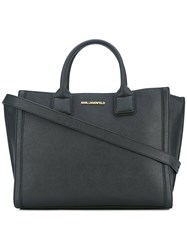 Karl Lagerfeld Logo Plaque Tote Bag Women Cotton Leather One Size Black