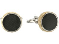 Stacy Adams Cuff Link Round With Grooved Edge Carbon Fiber Two Tone Cuff Links Metallic