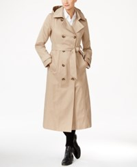 Anne Klein Hooded Water Resistant Long Trench Coat British Khaki