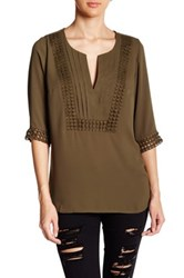 Angie Crochet Trim Chiffon Blouse Green