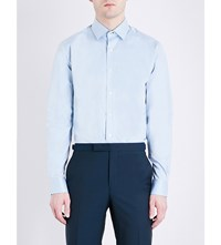 Duchamp Patterned Tailored Fit Cotton Twill Shirt Turquoise