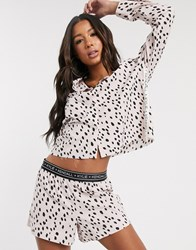 Kendall Kylie Dalmatian Print Short And Top Set In Pink
