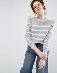 Willow And Paige Ribbed Jumper In Breton Stripe With Shoulder Ruffle Grey Cream