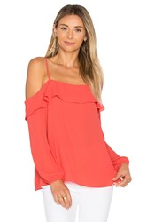 1.State Cold Shoulder With Ruffle Top Red