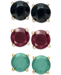 Victoria Townsend Sapphire 1 1 5 Ct. T.W. Ruby 1 1 5 Ct. T.W. And Emerald 1 1 5 Ct. T.W. Earring Set In Gold Plated Sterling Silver Yellow Gold