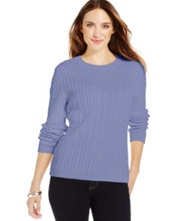 Karen Scott Cable Knit Crew Neck Sweater Purple Bliss