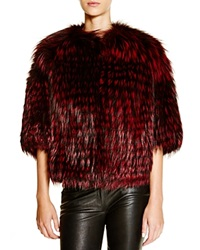 Michael Kors For Maximilian Feathered Fox Jacket Bloomingdale's Exclusive Claret