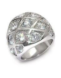 Michela Woven Crystal Dome Ring Silver
