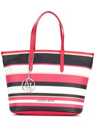 Armani Jeans Striped Tote Women Cotton Polyester Polyurethane Pvc One Size Red