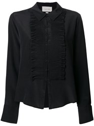 Alexis Pleated Bib Shirt Black