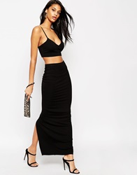 Asos Maxi Tube Skirt With Back Vent Black