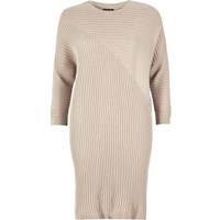 River Island Womens Pale Pink Ribbed Slouchy Longline Top