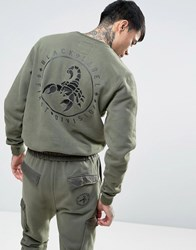 Cayler And Sons Sweatshirt With Scorpion Back Embroidery Khaki Green