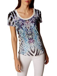 Karen Millen Animal Print T Shirt Blue Multi