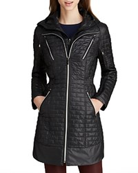 Laundry By Shelli Segal Coat Mini Brick Quilted Black