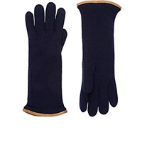 Barneys New York Women's Leather Trimmed Cashmere Gloves Blue