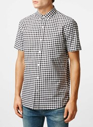 Topman Black White Gingham Short Sleeve Casual Shirt