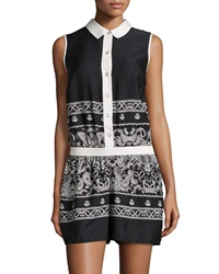 Neiman Marcus Paisley Collared Sleeveless Short Jumpsuit Black White
