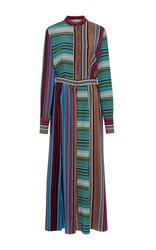 Diane Von Furstenberg Collared Flare Shirt Dress Stripe