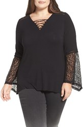 Democracy Plus Size Women's Lace Trim Lace Up Top