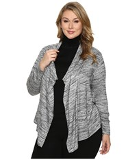 Karen Kane Plus Size Drape Cardigan Light Gray Women's Sweater