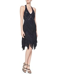Haute Hippie Sleeveless Beaded Fringe T Back Cocktail Dress Black