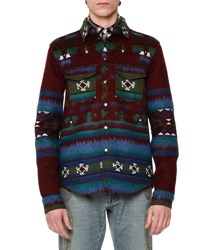 Valentino Tribal Print Woven Shirt Jacket Wine