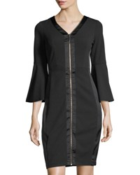 Jax Scuba Crepe Dress With Satin Trim Black