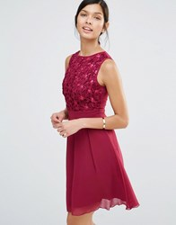 Little Mistress Skater Dress With Crochet Body Berry Red