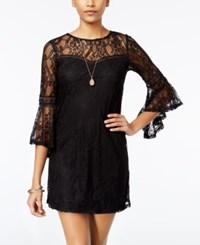 Amy Byer Bcx Juniors' Bell Sleeve Lace Shift Dress Black